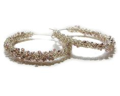 """#Jewelry set consisted of a wire #crochet beaded #bracelet and matching hoop earrings.   I used """"Silver Plated Artistic Wire"""". These wires are made by first plating the copper... #handmade #jewelry #boho #etsy #epiconetsy #shopping #shopsmall #jewelryonetsy #etsyseller #earrings #hoops #cuff"""