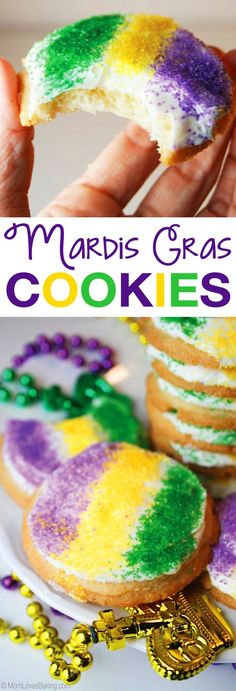 Easy Mardis Gras Cookies - just 3 ingredients! The perfect dessert for a Mardi Gras Party.