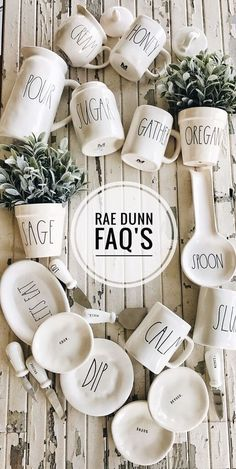 Liz Marie is one of the earliest collectors of Rae Dunn. In this article she finally shares her collection and you have to see her finds over the years. Banquette Design, Ray Dunn, Farmhouse Chic, Turquoise, Sweet Home, Place Card Holders, Pottery, Mugs, Inspiration