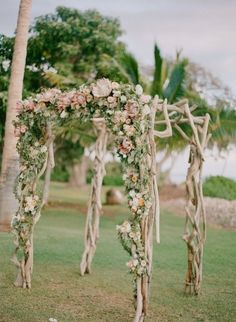 Rustic, floral covered Chuppah: http://www.stylemepretty.com/destination-weddings/2015/02/10/romantic-alfresco-maui-wedding/   Photography: Gina Meola - http://ginameola.com/