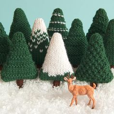 A knitting pattern for nine different Christmas trees which can be left as they are or decorated. They are perfect for making baubles, hanging ornaments, garlands and other decorations. The trees are knit flat and if using Cascade 220 yarn and 4mm needles are approximately 10cm (4 inches) tall. If you use a different yarn and/or needles the size may differ. You will need: • Cascade 220 yarn, about 7g per tree, in Forest Green (8267), White (8505) and Brown (8686). • 4mm (US 6) knitting...