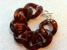 Large Chunky Tortoise Shell Acrylic Link Cuff by Meant2Bead, $18.00