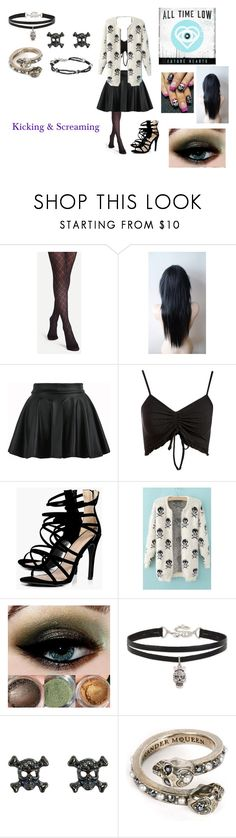 """Kicking & Screaming by All Time Low"" by ocean-goddess ❤ liked on Polyvore featuring WithChic, Topshop, Boohoo, Betsey Johnson, Alexander McQueen and King Baby Studio"