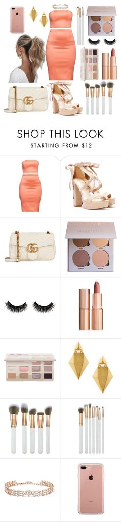 """crooked smile"" by crybarbietears ❤ liked on Polyvore featuring Nasty Gal, Gucci, Charlotte Tilbury, Stephanie Kantis, Spectrum, Oscar de la Renta, Belkin and Love Couture"