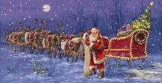 Santa Claus ckecking his list Christmas Scenes, Christmas Art, Beautiful Christmas, Christmas Holidays, Xmas, Christmas Stuff, Christmas Decorations, Santa And His Reindeer, Santa Sleigh