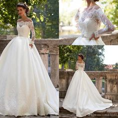 Millanova Ball Gown Wedding Dresses Long Sleeves 2016 Off Shoulder Lace Satin Covered Button Satin Chapel Train Bridal Gowns Mariage Cheap Wedding Dress Long Sleeves Ball Gown Wedding Dress Long Bridal Gowns Online with 180.58/Piece on Vestidobridal's Store | DHgate.com