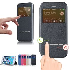 Smart Window View Case For Apple iPhone 4 4s 5C 6 6S Plus 5S SE Leather Flip Back Cover Case Magnetic Sliding Answer Calls