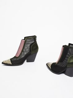Brinkley Ankle Boot Sexy ankle boot with a mixed design featuring sheer mesh panels and a snakeskin detail at the toe. http://spotpopfashion.com/6hjy