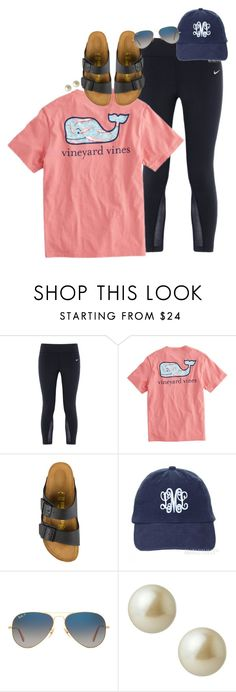 """""""e d s f t g"""" by smbprep ❤ liked on Polyvore featuring NIKE, Vineyard Vines, Birkenstock, Ray-Ban and Carolee"""