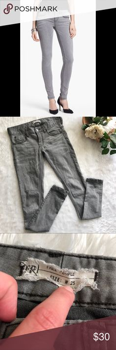 Free People Stretch Skinny Jean in Grey This Jean is in excellent condition!  Size 25 Waist is approx 14 Inseam is approx 32.5 Smoke and pet free home! No flaws like stains or holes! No modeling No trades! Free People Jeans Skinny