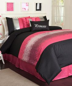 Take a look at this Black & Pink Night Sky Comforter Set by Lush Décor on #zulily today!