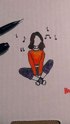 Girl Drawing Sketches, Art Drawings Sketches Simple, Pencil Art Drawings, Easy Drawings, Drawing Ideas, Art Du Croquis, Art Drawings Beautiful, Simple Doodles, Art Sketchbook