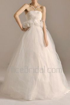 Tulle Strapless Floor Length A-line Wedding Dress with Handmade Flowers - Alice Bridal