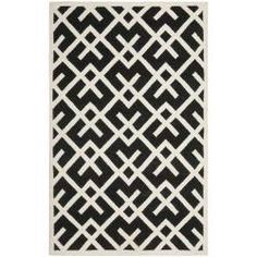 Safavieh Moroccan Reversible Dhurrie Transitional Black/Ivory Wool Rug (4' x 6') - Overstock™ Shopping - Great Deals on Safavieh 3x5 - 4x6 Rugs