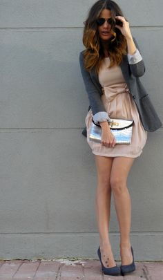 soft nude dress with a blazer and killer clutch