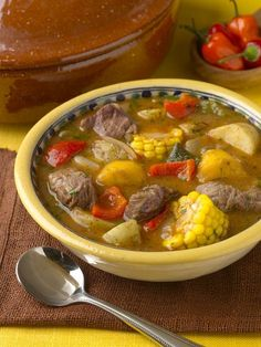 Sancocho- typical 'comfort' food in Puerto Rico Sancocho. It is a wonderful thick stew here they are using beef and oft times it has ad rice in it as well. A more traditional one will have calabaza (pumpkin) in place of butternut squash Puerto Rican Dishes, Puerto Rican Cuisine, Puerto Rican Recipes, Mexican Food Recipes, Soup Recipes, Cooking Recipes, Healthy Recipes, Ethnic Recipes, Sancocho Recipe Puerto Rican