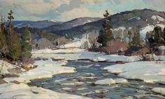 Aldro T Hibbard(1886-1972). MeanderingWinter River.Oil on Canvas Board.17 x 21 in.