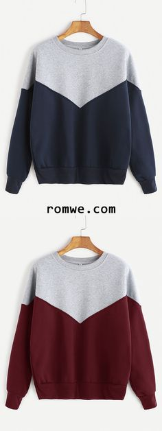 Contrast Dropped Shoulder Seam Sweatshirt