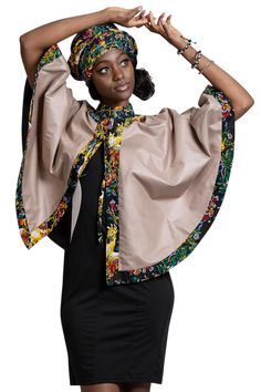 Look uniquely gorgeous in AFRILEGE African print Women cape. For more African products, visit . African Shirt Dress, African Wear Dresses, African Print Skirt, African Fashion Ankara, African Inspired Fashion, African Print Fashion, Africa Fashion, African Fabric, African Attire