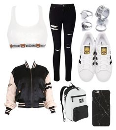"""""""Untitled #102"""" by adriana02067565 ❤ liked on Polyvore featuring beauty, Moschino, Miss Selfridge and adidas Originals"""