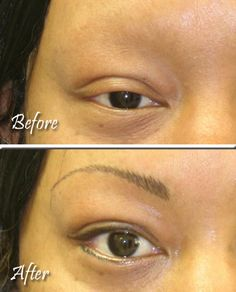 """Our """"feather-stroke"""" eyebrows along with permanent eyeliner made all the difference in the world in this client's appearance."""