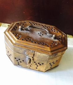 Golden Metal Jewelry Box Jewelry Box by ShabbyVintageCouture