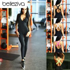 04a4c526df93 buy Belleziva Women Sports Clothes Gym Yoga Sets Running Fitness Dancing  Elastic Sport Jumpsuit Outfit Female