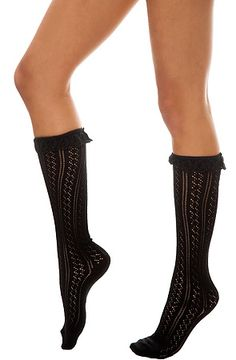 The Lace Top Pointelle Knee Sock in Black by Velvet Hearts