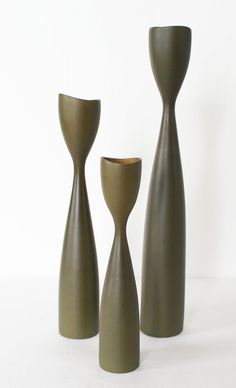 Vtg Wood Candle Stick Holders 3 Danish Mid Century Modern Denmark Olive Green