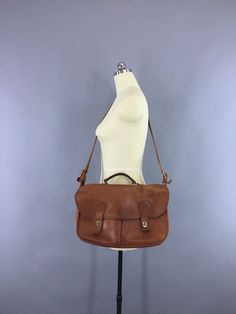 Vintage 1970s Coach Tan Leather Musette Messenger Bag