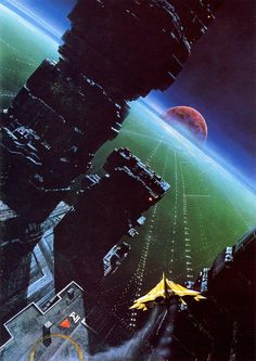 Whoa, city planet. By John Harris. //I think at least one edition of Ender's Game had this illustration on the cover. Too bad that was a novel adaptation that didn't translate well.