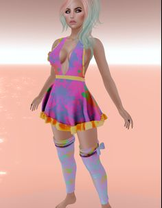 Dress & socks/warmers - comes with versions for Belleza Freya, Slink Physique, Slink Hourglass, and Maitreya Lara. Maid Dress, Dress Socks, Hourglass, Physique, Tropical, Dresses, Style, Fashion, Physicist