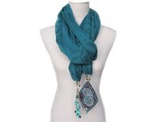 Material: silk and viscose shawl and Silver plated hangers with Turquoise, Agate semi precious stones and crystals by Nogol Zahabi (NZ).