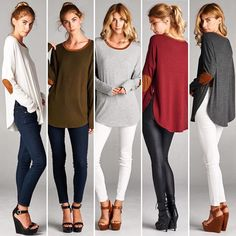 T17094 Loose fit round neck long sleeve top. Contrast neckband and elbow patch…