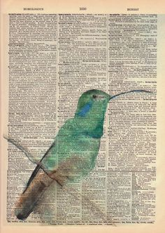 Vintage Book Page Print - Original Watercolor Art Print