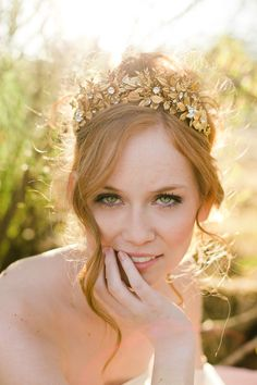 Handmade golden leaves and flowers crown- style 703
