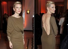 Cate Blanchett's sexy low-cut back adorned with a tassel necklace