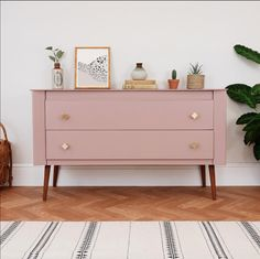 Sulking room pink by farrow and ball on a midcentury modern cabinet upcycle. Image Credit: Elizabeth Dot Design furniture, My Prediction For The Big Interior Trends of 2019 Upcycled Furniture, Vintage Furniture, Painted Furniture, Diy Furniture, Furniture Design, Vintage Sideboard, Office Furniture, Sideboard Decor, Rustic Furniture