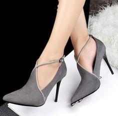 Zapatos 2017 con tacón grises