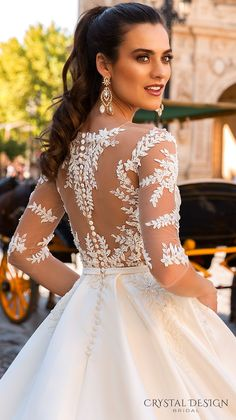 crystal design 2017 bridal three quarter sleeves sheer boat sweetheart neckline heavily embellished bodice romantic lace a line wedding dress lace back chapel train (jaimi) zbv