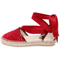 Oscar de la Renta Ruby Laser-Cut Suede Adriana Espadrilles ($390) ❤ liked on Polyvore featuring shoes, sandals, espadrilles, oscar de la renta, flats, red, red flats, suede flats, flat pumps and suede shoes