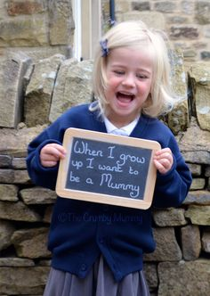 First day of school photo ideas. Asking children what they want to be when they grow up.