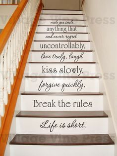 Life is short  Motivational decal PLUS FREE - Staircase Decal - wall Decal - Etsy - by VillageVinePress, $34.95