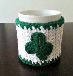 Shamrock Green and White Coffee Mug Cozy by NandysNook on Etsy