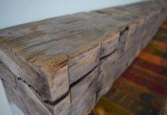 Reclaimed Hand Hewn Barn Beam Wood Fireplace by UpcyclartDesigns