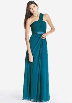 Sleeveless A line One Shoulder Chiffon Zipper up Floor Length Bridesmaid Dress - Angeldress.co.uk