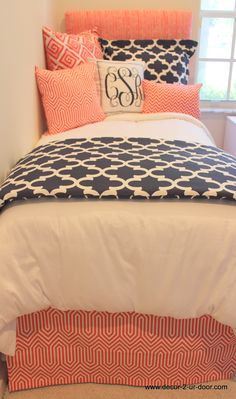 coral and navy bedding love the patterns