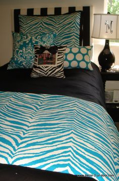 Cute Dorm Room Bedding in Premier Prints Girly Blue and Black Colors
