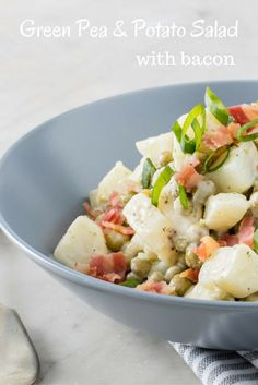 Green pea & potato salad with bacon recipe. when it comes to a bbq or braai, the potato salad is our go-to side dish. Vegan Bbq Recipes, Easy Bbq Recipes, Bacon Recipes, Healthy Salad Recipes, Quick Easy Meals, Summer Recipes, Dog Food Recipes, Potato Salad With Apples, Potato Salad Recipe Easy