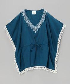 Love this Slate Blue Pom-Pom Kaftan - Toddler & Girls by Azul Swimwear on #zulily! #zulilyfinds